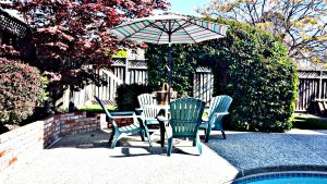 Umbrella with Patio Table and Chairs | San Francisco Bay Area Vacation Home Rentals
