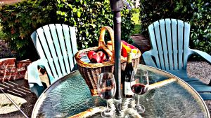 Gift Basket, Patio Table, Umbrella in Backyard | San Francisco Bay Area Vacation Home Rentals